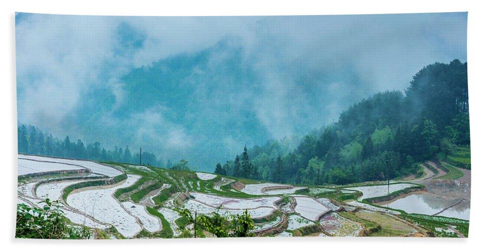 Terrace Hand Towel featuring the photograph Longji Terraced Fields Scenery by Carl Ning