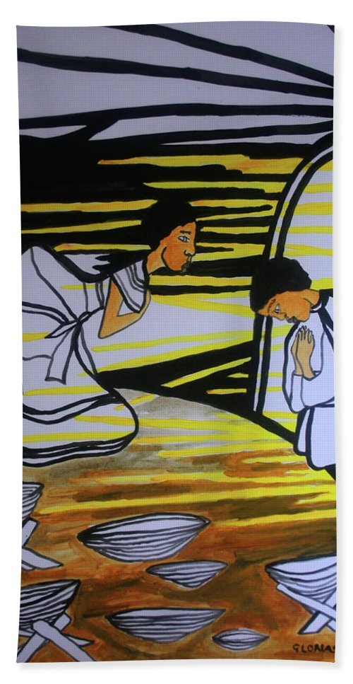 Jesus Bath Sheet featuring the painting The Annunciation by Gloria Ssali