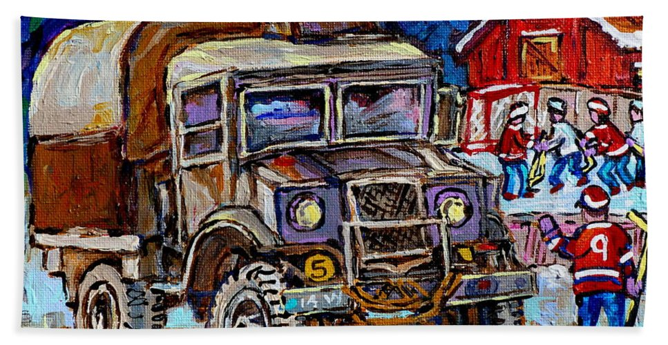 Dodge Truck Hand Towel featuring the painting 50's Dodge Truck Red Wood Barn Outdoor Hockey Rink Art Canadian Winter Landscape Painting C Spandau by Carole Spandau