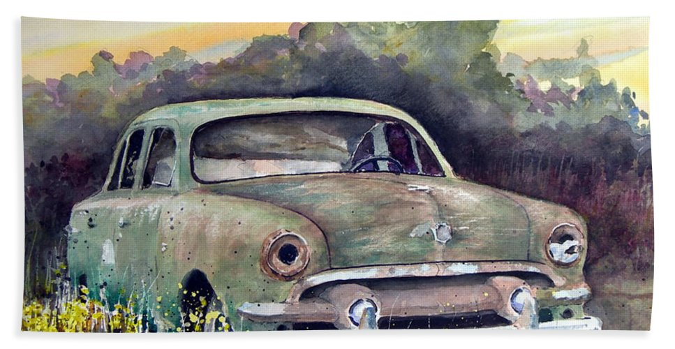 Car Bath Sheet featuring the painting 51 Ford by Sam Sidders