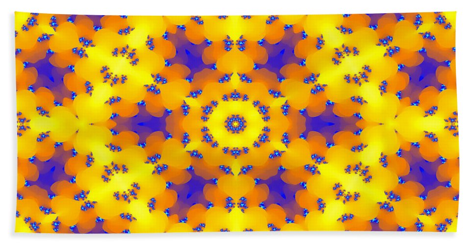 Abstract Hand Towel featuring the digital art Fractal Floral Pattern by Miroslav Nemecek
