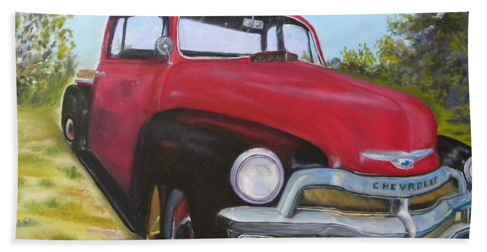 I Love Car Shows And This Red/black 55 Chevy Truck Spirred The Inspiration To Do A Collection Of Automobiles. Bath Sheet featuring the painting 55 Chevy Truck by Cheryl Damschen