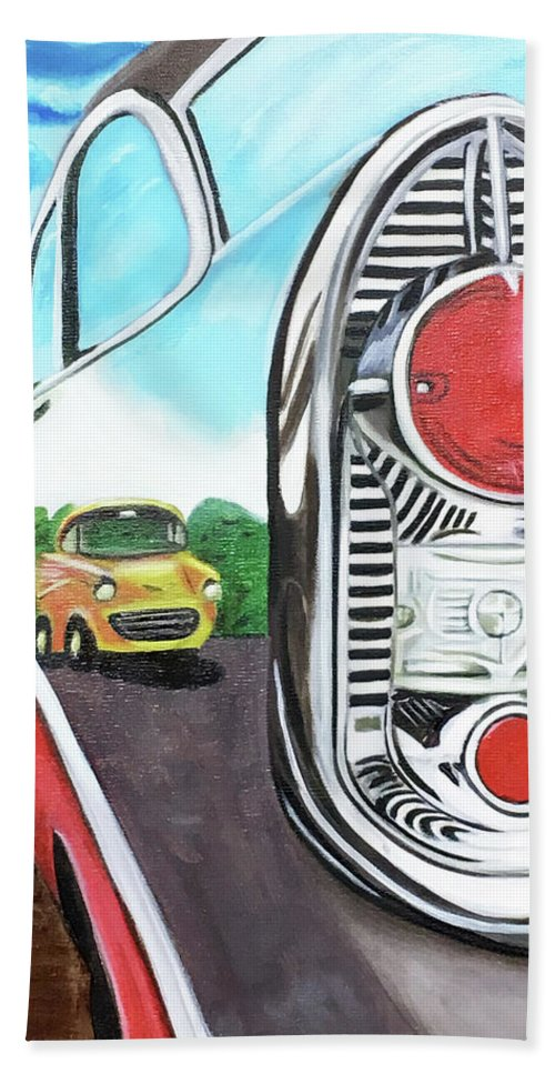Glorso Hand Towel featuring the painting 56 Chevy Reflections by Dean Glorso