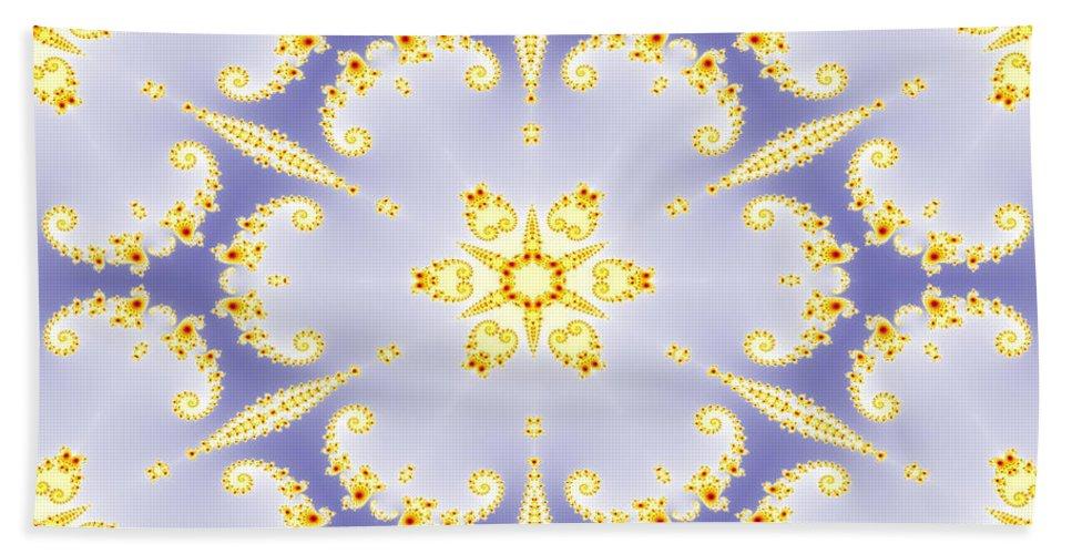 Abstract Hand Towel featuring the digital art Fractal Floral Pattern by Miroslav Nemecek