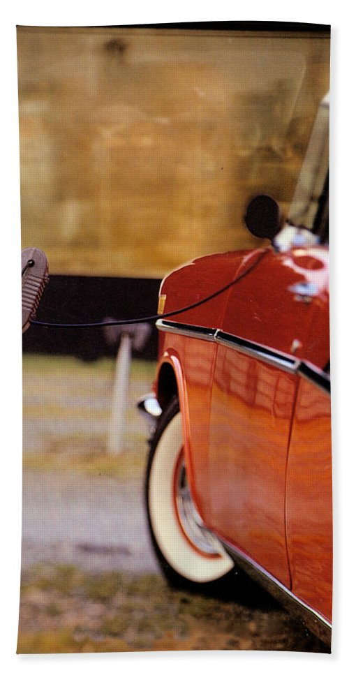 57 Bath Sheet featuring the photograph 57 Chevy At The Drive-in by Robert Ponzoni