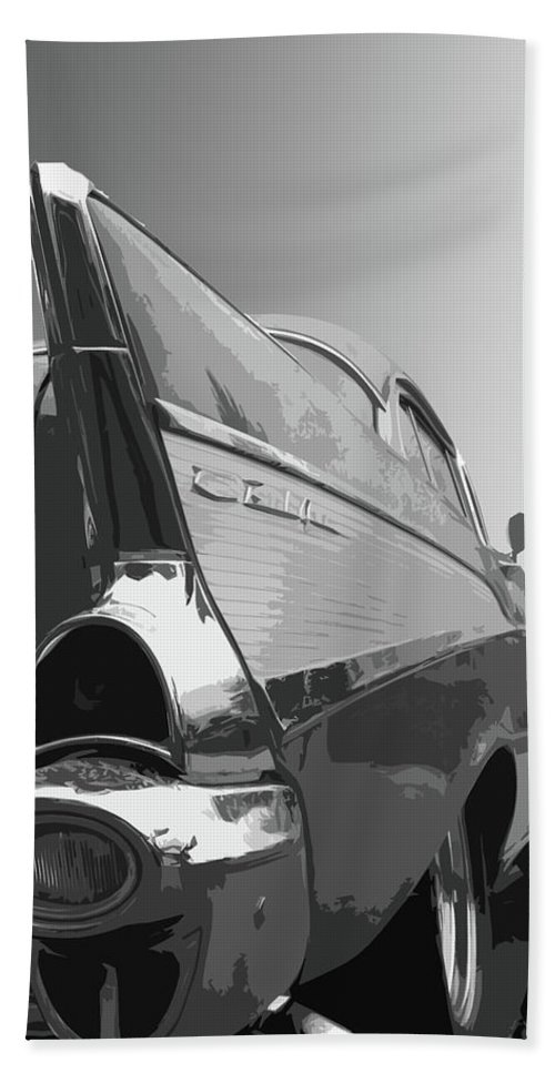 1957 Bath Towel featuring the photograph 57 Chevy Verticle by Dick Goodman