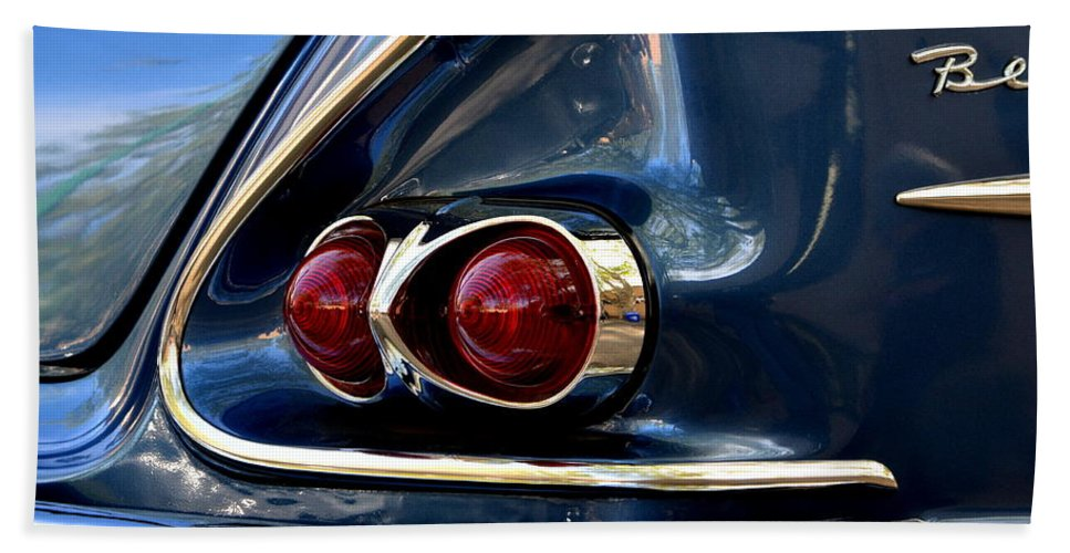 Bath Towel featuring the photograph 58 Bel Air Tail Light by Dean Ferreira