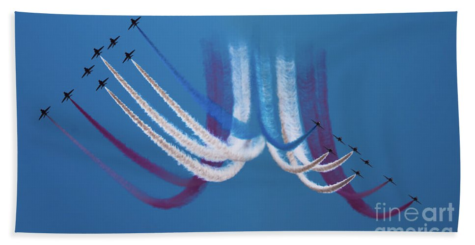 Red Arrows Bath Sheet featuring the photograph Red Arrows by Angel Ciesniarska