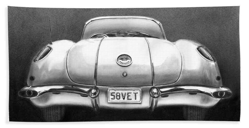 1958 Corvette Bath Sheet featuring the drawing 58vet by Peter Piatt