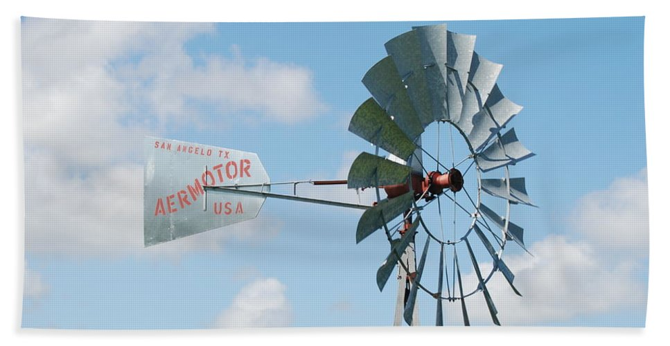 Blue Hand Towel featuring the photograph Aermotor Windmill by Rob Hans