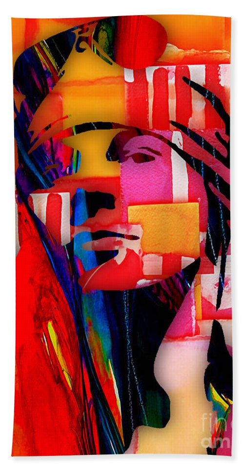 Axl Rose Hand Towel featuring the mixed media Axl Rose Collection by Marvin Blaine