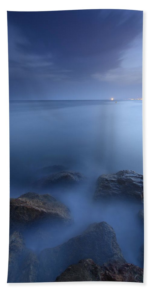 Sunset Hand Towel featuring the photograph Blue Sea by Guido Montanes Castillo