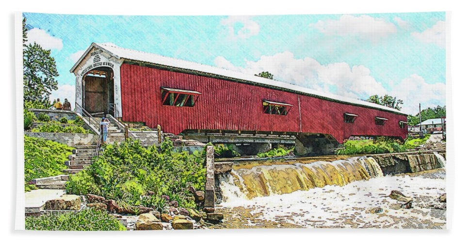 Bridgeton Hand Towel featuring the photograph Bridgeton Covered Bridge by Margie Wildblood