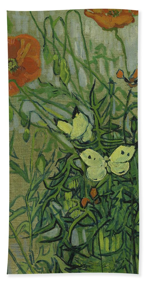 Vincent Van Gogh Bath Sheet featuring the painting Butterflies And Poppies by Vincent van Gogh
