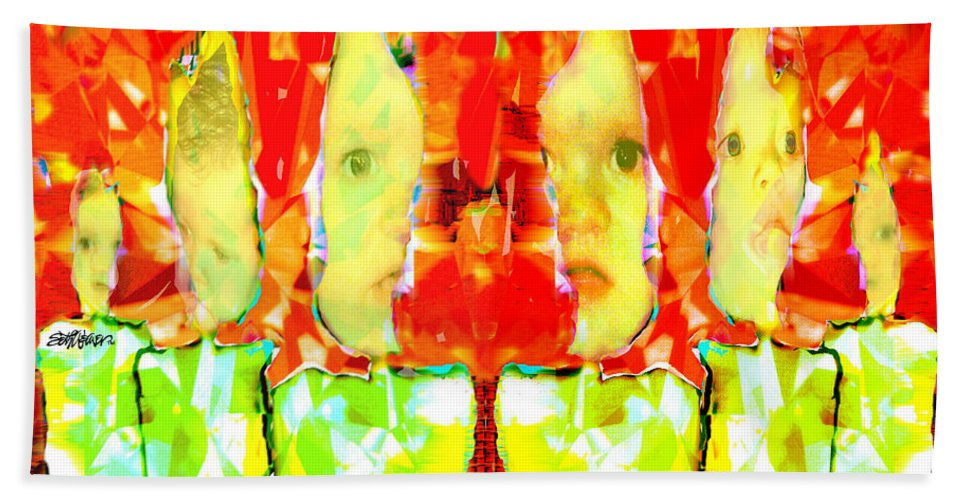 6 Hand Towel featuring the digital art 6 Candles Of Christmas by Seth Weaver