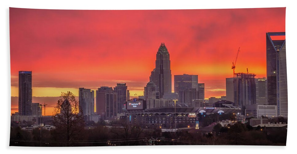 Red Bath Sheet featuring the photograph Charlotte The Queen City Skyline At Sunrise by Alex Grichenko