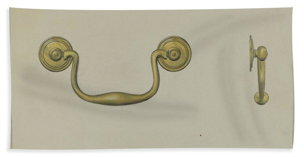 Hand Towel featuring the drawing Drawer Pull by Janet Riza