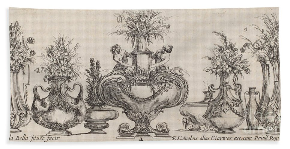 Hand Towel featuring the drawing Fantastic Vases by Stefano Della Bella