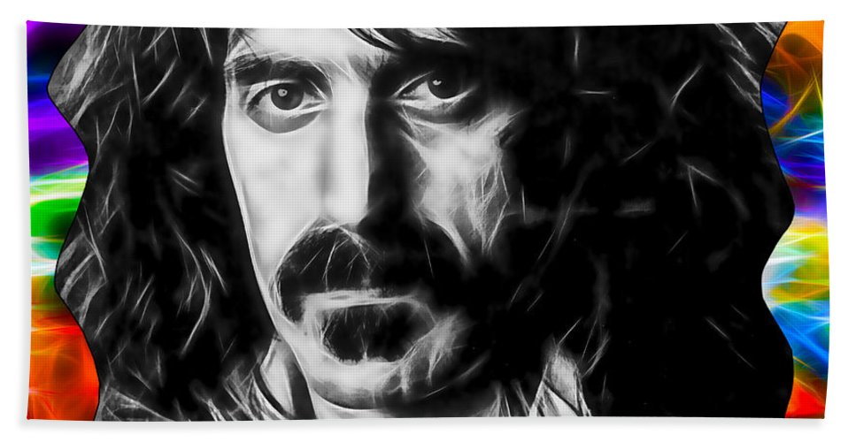 Frank Zappa Hand Towel featuring the mixed media Frank Zappa Collection by Marvin Blaine