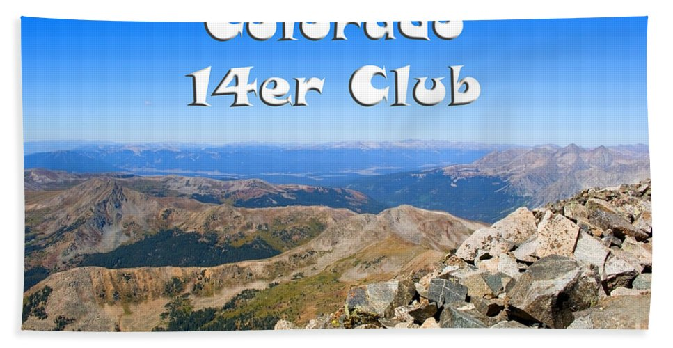 14er Hand Towel featuring the photograph Hikers And Scenery On Mount Yale Colorado by Steve Krull