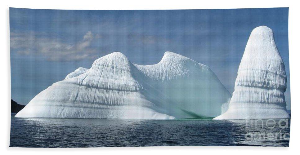 Iceberg Photograph Ice Water Ocean Sea Atlantic Summer Newfoundland Hand Towel featuring the photograph Iceberg by Seon-Jeong Kim
