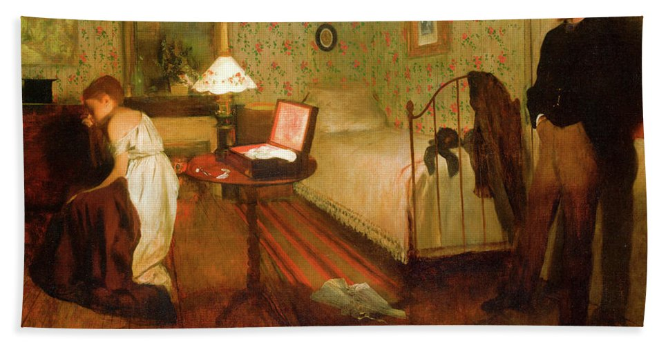 Bedroom Hand Towel featuring the painting Interior by Edgar Degas