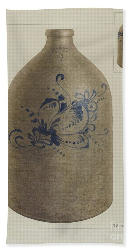 Hand Towel featuring the drawing Jug by Nicholas Amantea
