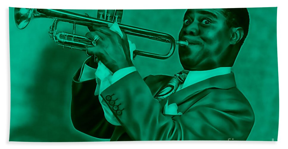 Louis Armstrong Hand Towel featuring the mixed media Louis Armstrong Collection by Marvin Blaine