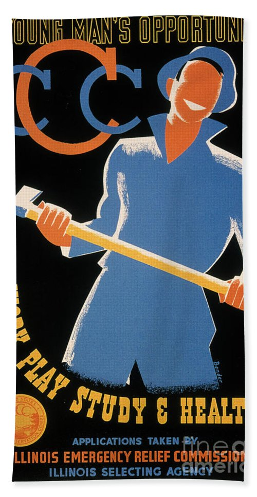1935 Hand Towel featuring the photograph New Deal: Wpa Poster by Granger