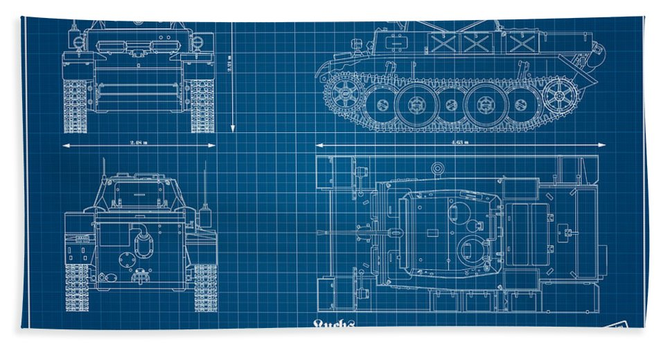 Panzer Of The German Wehrmacht - Blueprint Bath Sheet featuring the digital art Sd. Kfz. 123. Panzerkampfwagen II - Lynx by Marcel Thomas