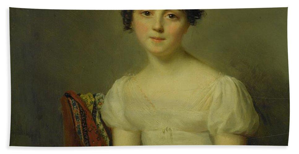 Firmin Massot Geneva 1766 - 1849 Portrait Of Andrienne-constance Bourdillon (1792-1836) Bath Sheet featuring the painting Portrait by MotionAge Designs