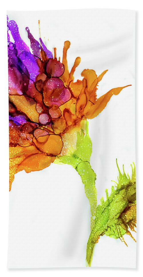 Iris Flower Hand Towel featuring the painting Purple Flower by Lilia D