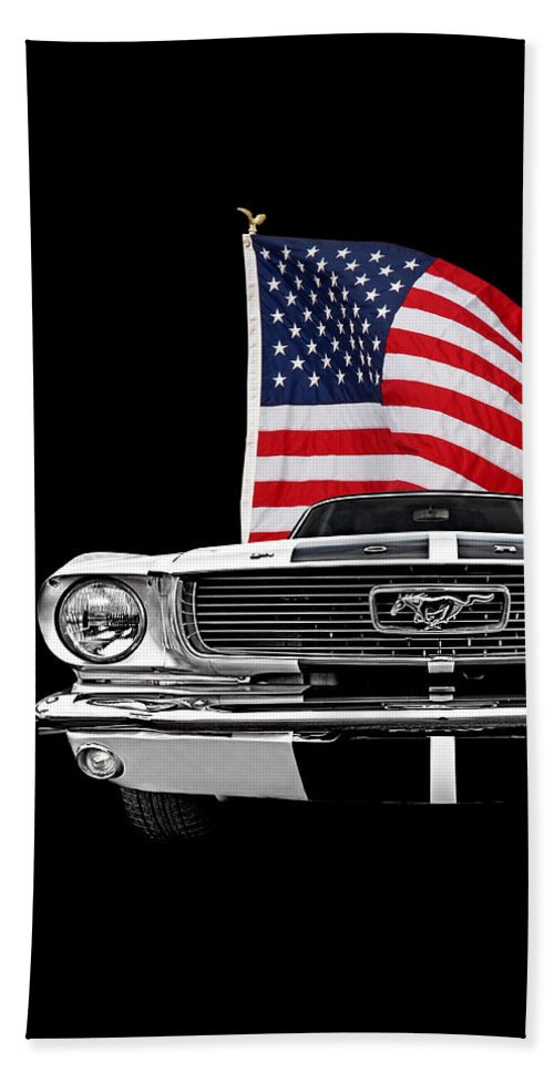 Ford Mustang Bath Towel featuring the photograph 66 Mustang With U.s. Flag On Black by Gill Billington