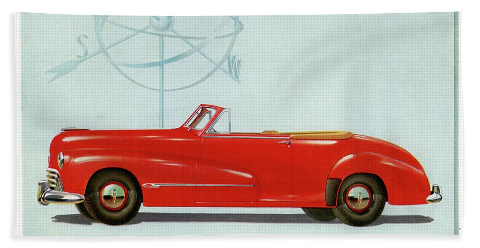 Classic Cars Bath Sheet featuring the drawing 66 Oldsmobile by Allen Beilschmidt