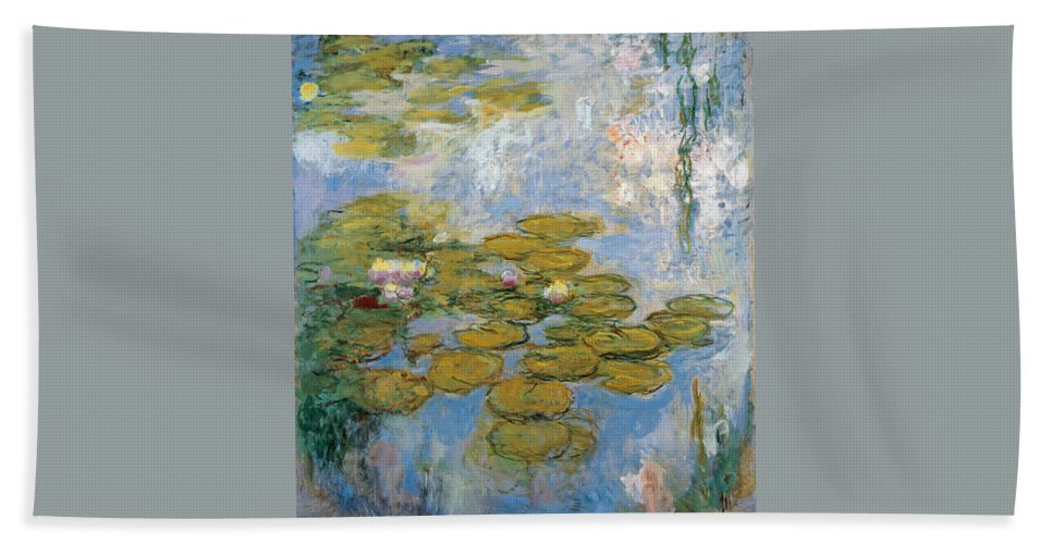 Claude Monet Hand Towel featuring the painting Water Lilies by Claude Monet