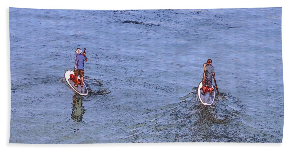 Paddle Boarders Hand Towel featuring the photograph 69- Paddle Boarders by Joseph Keane