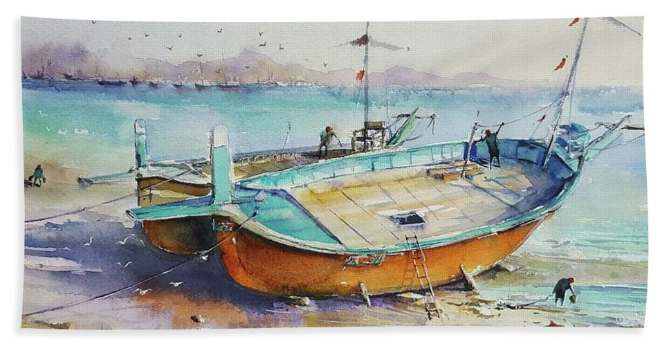 Send Bath Sheet featuring the painting Seascape by Momin Khan