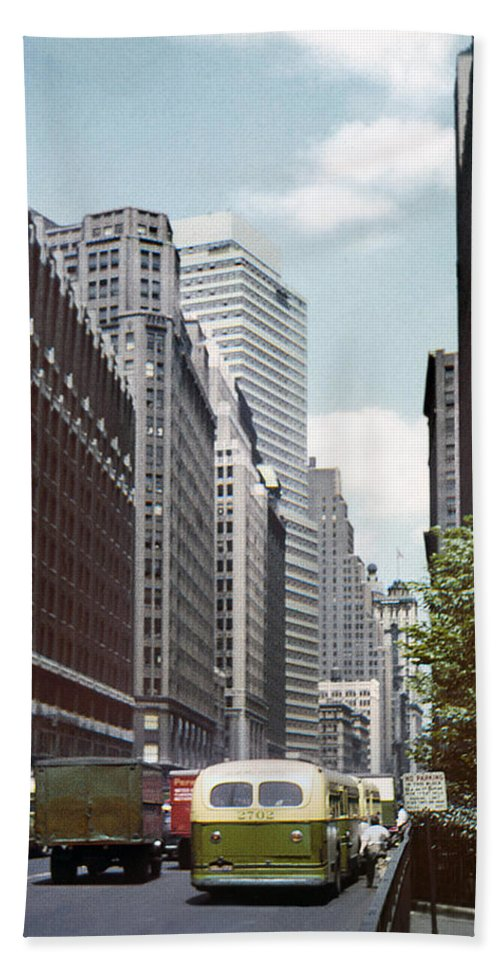 6th Avenue Hand Towel featuring the photograph 6th Avenue New York 1950 by Marilyn Hunt