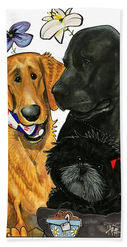 Pet Portrait Bath Sheet featuring the drawing 7-1396 Scallon by John LaFree