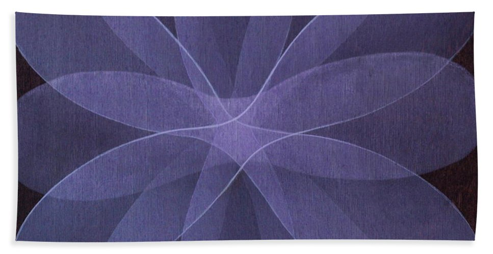 Abstract Bath Sheet featuring the painting Abstract Flower by Jitka Anlaufova