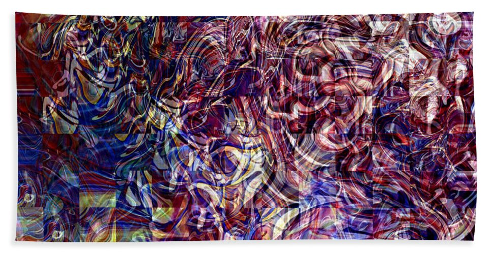 Abstract Green Yellow Red White Blue Bath Sheet featuring the digital art Abstract by Galeria Trompiz