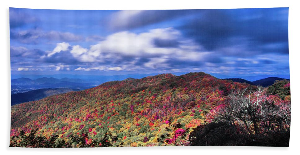 Mountain Bath Sheet featuring the photograph Beautiful Autumn Landscape In North Carolina Mountains by Alex Grichenko