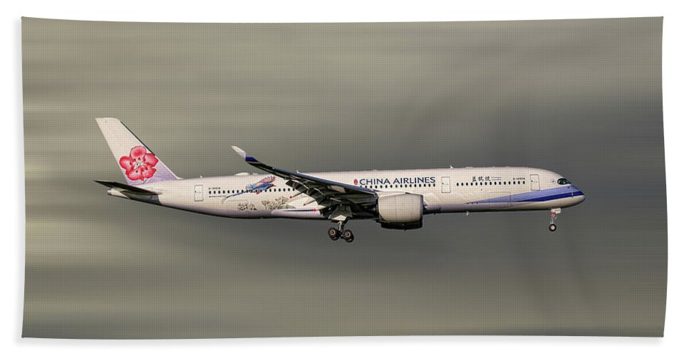 China Bath Towel featuring the mixed media China Airlines Airbus A350-941 by Smart Aviation