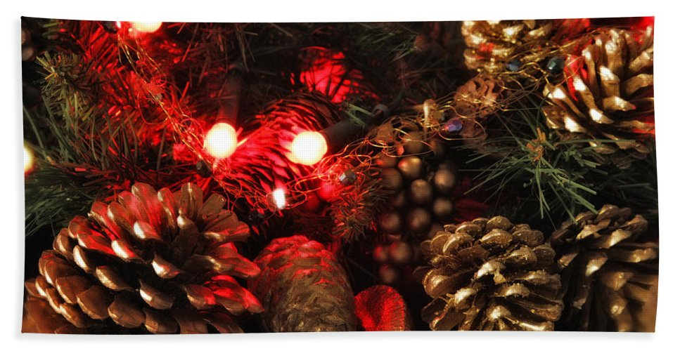 Christmas Bath Sheet featuring the photograph Christmas Tree Decorations by Mal Bray