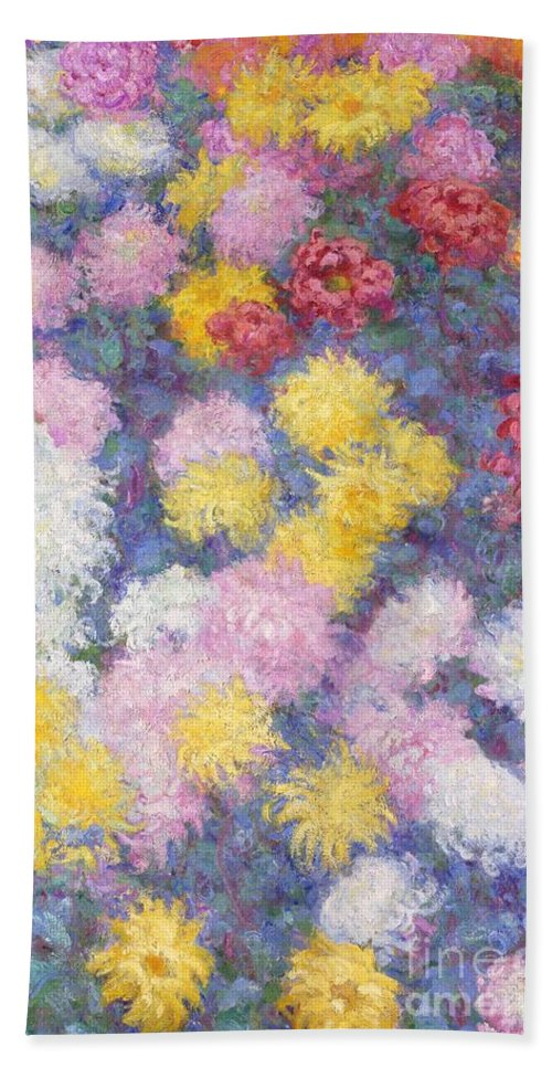 French Bath Sheet featuring the painting Chrysanthemums by Claude Monet