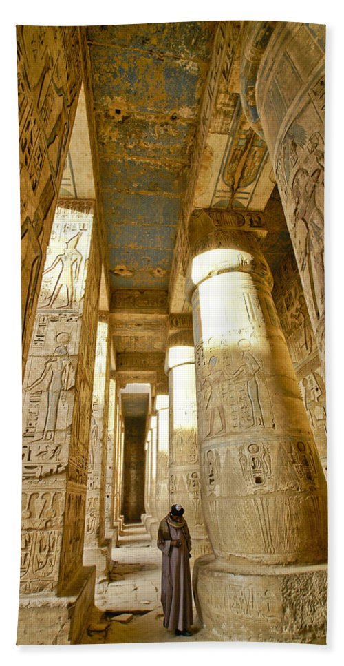 Egypt Hand Towel featuring the photograph Colonnade In An Egyptian Temple by Michele Burgess