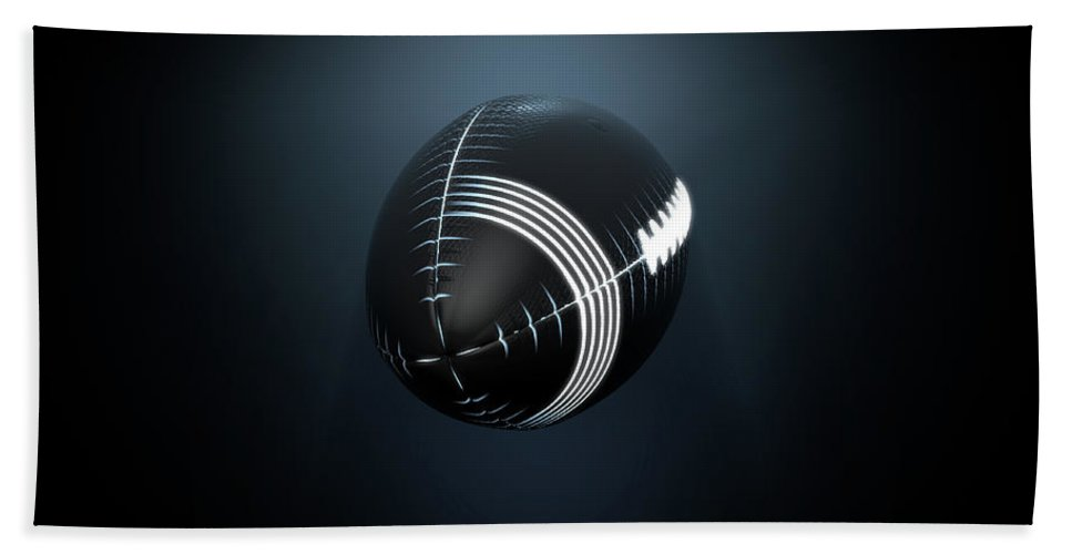 Football Bath Towel featuring the digital art Futuristic Neon Sports Ball by Allan Swart