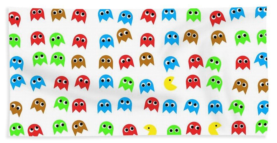 Monsters Hand Towel featuring the digital art Game Monsters Seamless Generated Pattern by Miroslav Nemecek