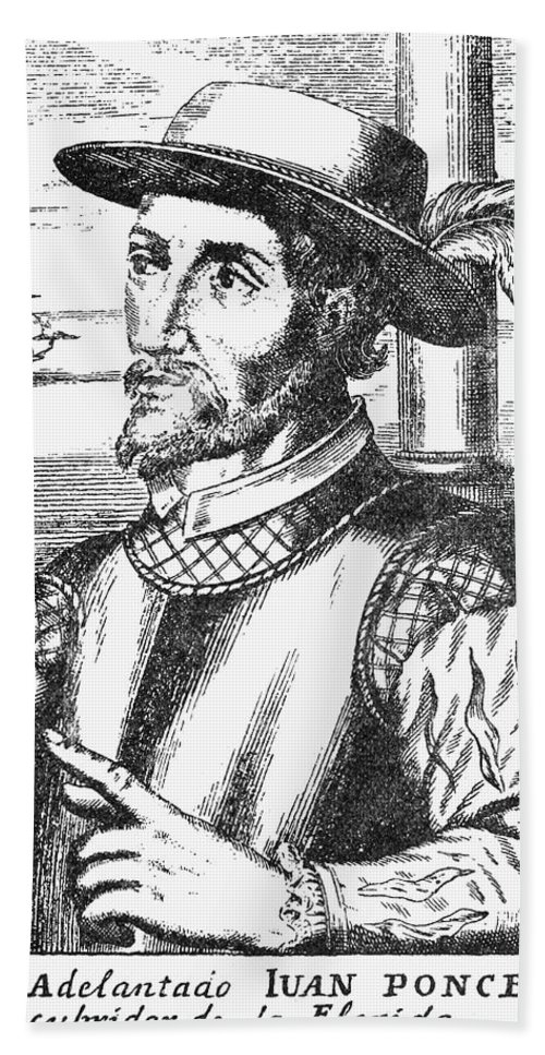 15th Century Hand Towel featuring the photograph Juan Ponce De Leon by Granger
