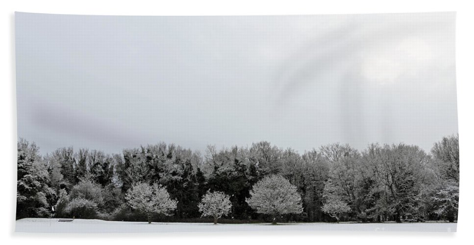 Snow On Epsom Downs Surrey Uk Hand Towel featuring the photograph Snow On Epsom Downs Surrey Uk by Julia Gavin
